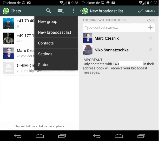 whatsapp broadcast lists