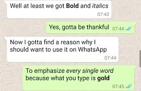 whatsapp for android bold and italics